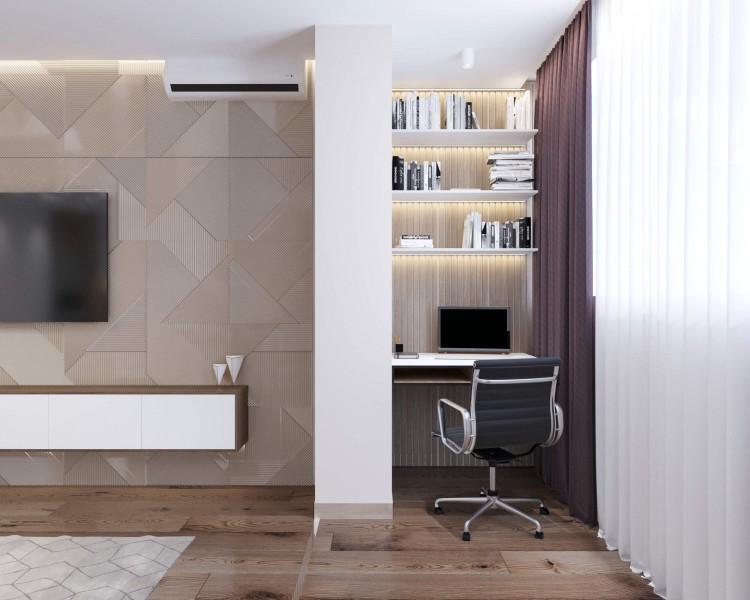 Мини кабинет в дизайн-проекте квартиры  ЖК Варшавский квартал, 95м.кв — студия дизайна NS interior Design