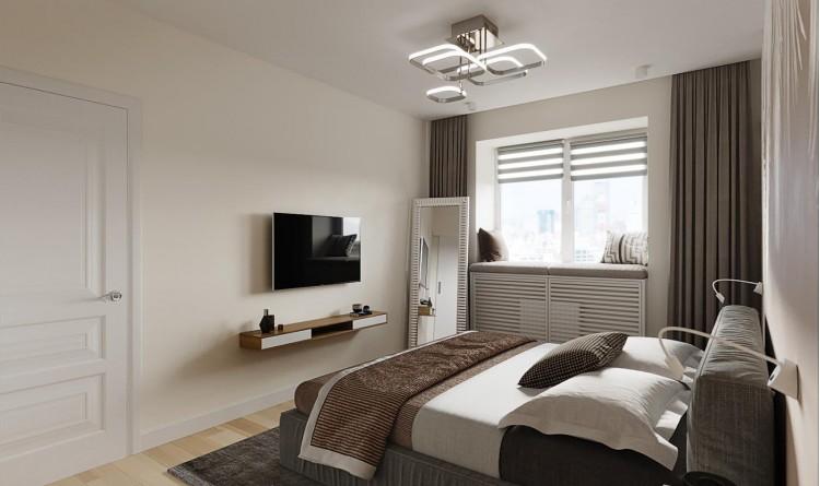 Спальная комната в светлых тонах в двухкомнатной квартире