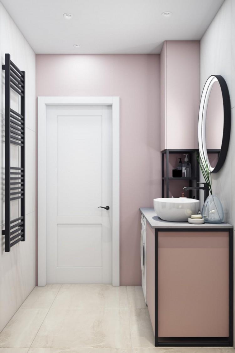 Дизайн санузла в розовых цветах