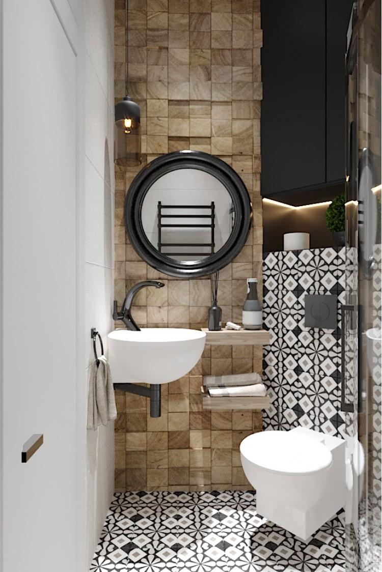 Фото дизайна: Санузел с душевой кабиной – Квартира в Эко-стиле, 77 м.кв – 1699