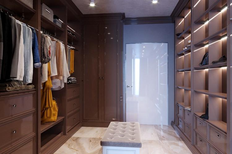 Гардеробная —  Дизайн 5-комнатной квартиры в стиле Арт-деко с элементами классики,  ЖК Комфорт Таун, 140  м.кв — студия дизайна Redis&Co