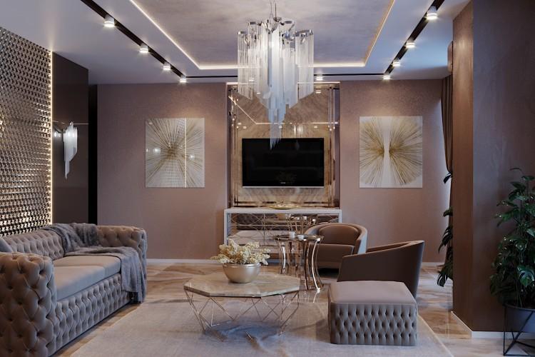Гостиная —  Дизайн 5-комнатной квартиры в стиле Арт-деко с элементами классики,  ЖК Комфорт Таун, 140  м.кв — студия дизайна Redis&Co