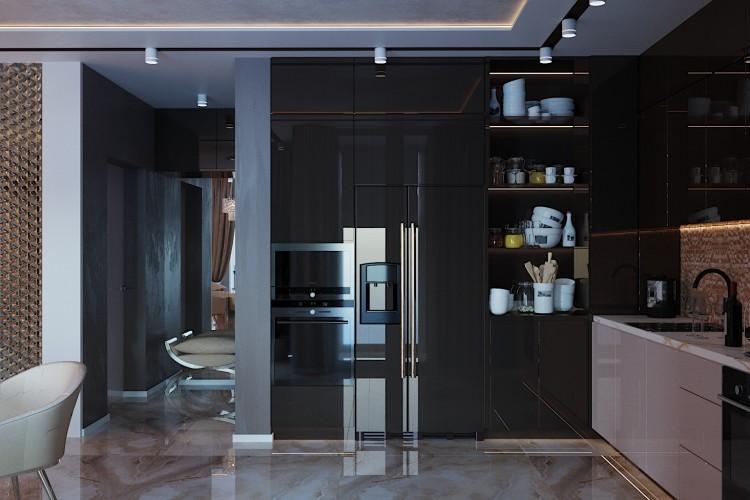 Кухня —  Дизайн 5-комнатной квартиры в стиле Арт-деко с элементами классики,  ЖК Комфорт Таун, 140  м.кв — студия дизайна Redis&Co