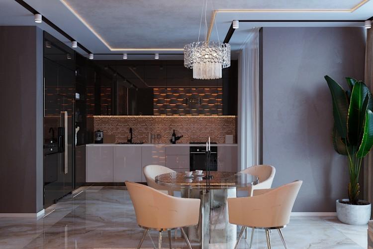 Кухня-гостиная —  Дизайн 5-комнатной квартиры в стиле Арт-деко с элементами классики,  ЖК Комфорт Таун, 140  м.кв — студия дизайна Redis&Co