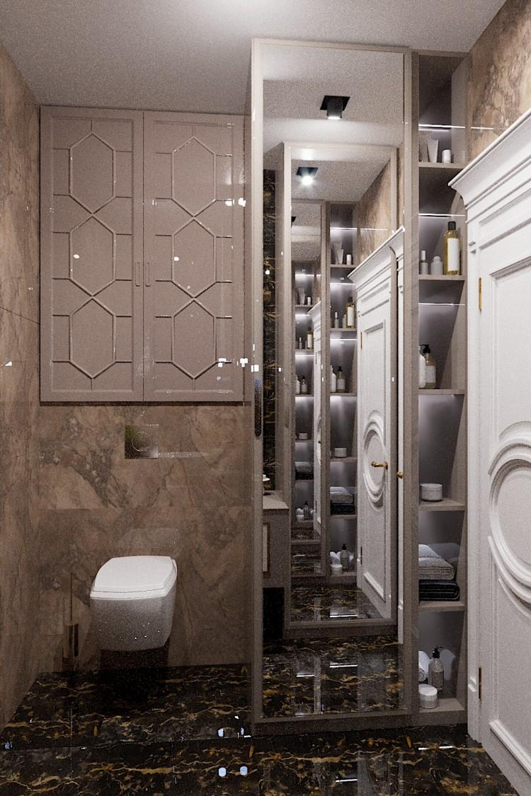 Фото: Санузел-1 – Квартира в стиле Арт-деко с элементами классики, 140  м.кв – 1570