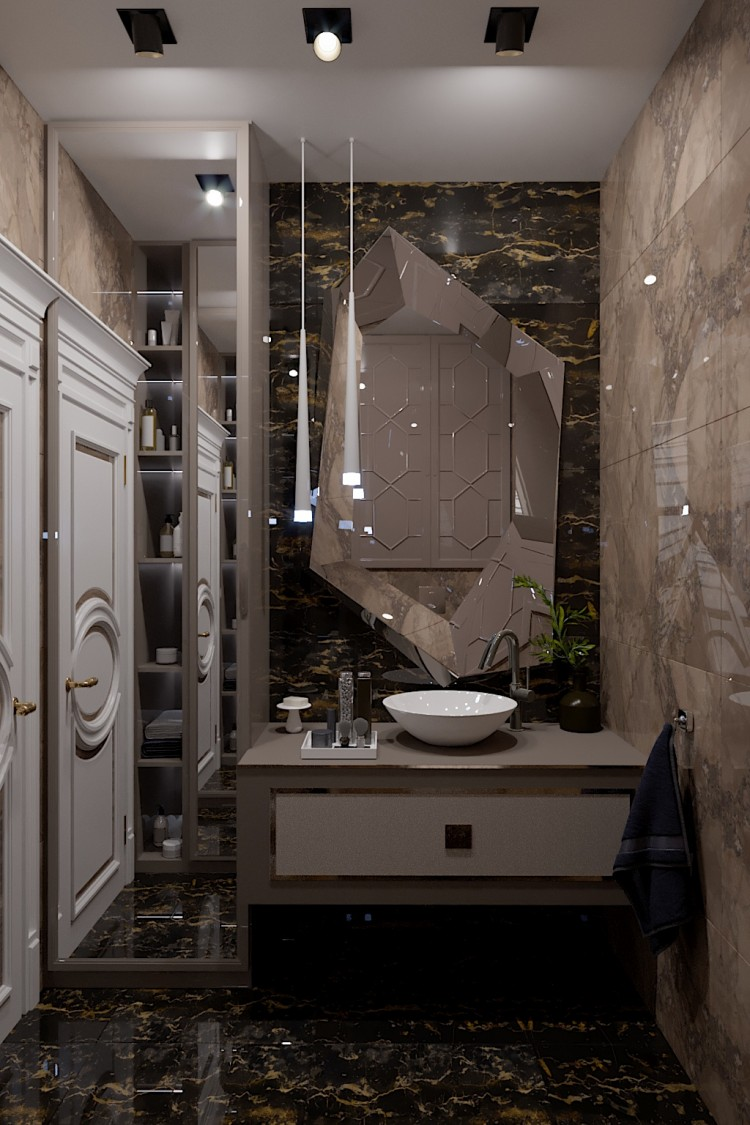 Фото интерьера: Санузел-1 – Квартира в стиле Арт-деко с элементами классики, 140  м.кв – 1569
