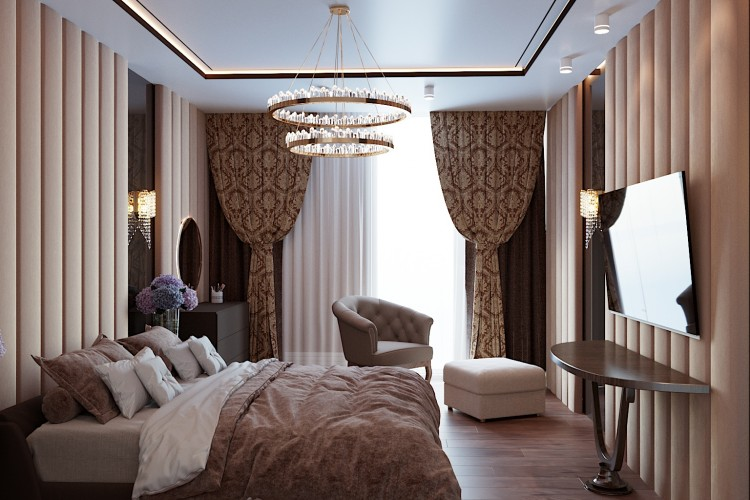 Спальня-2 —  Дизайн 5-комнатной квартиры в стиле Арт-деко с элементами классики,  ЖК Комфорт Таун, 140  м.кв — студия дизайна Redis&Co