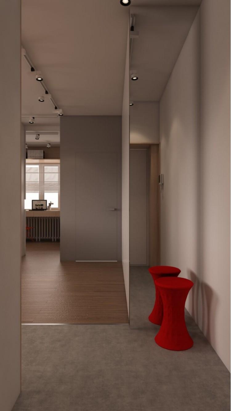 Коридор в дизайн-проекте 1- квартиры в ЖК Ричмонд, 50 м.кв — студии дизайна Studio 68-32