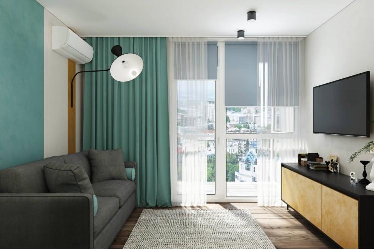 Дизайн гостиной комнаты с яркими акцентами