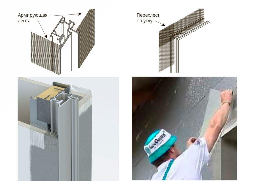 Подготовка скрытой двери к штукатурным работам, схема укладки армирующей ленты