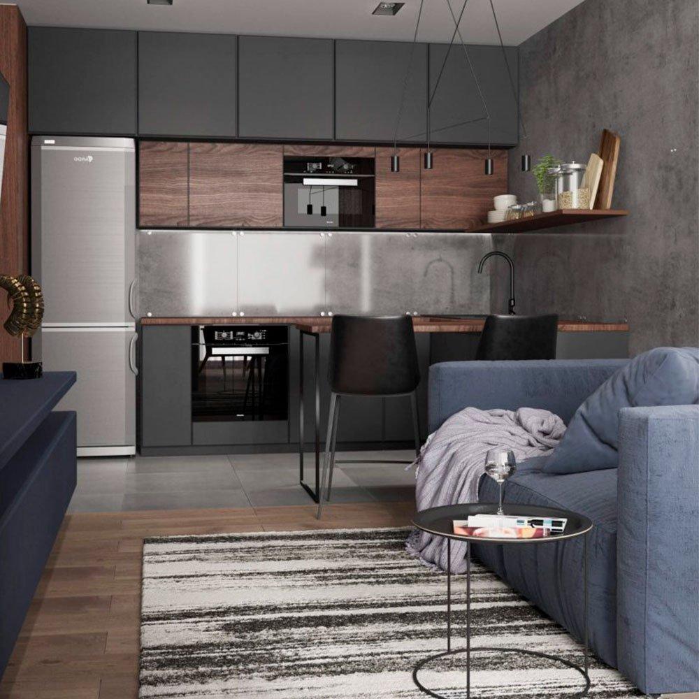 Кухня-студия в однокомнатной квартире