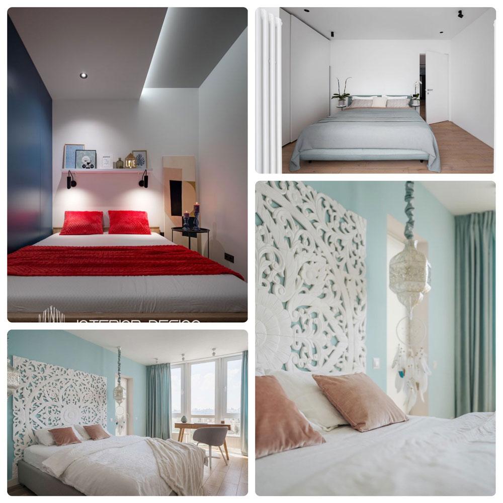 Спальня оформленная в скандинавском дизайне, удобная кровать, плед, светлые стены, декор