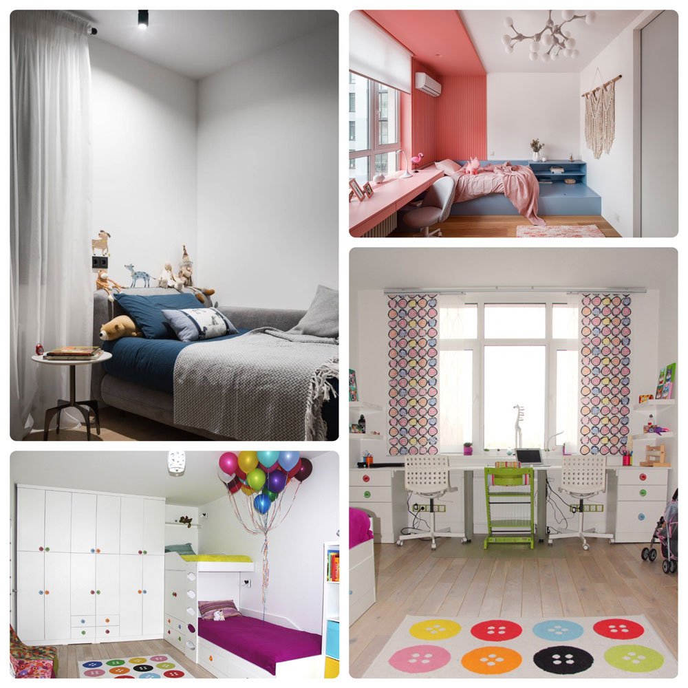На фото – Оформление детской комнаты в светлых тонах с яркими акцентами