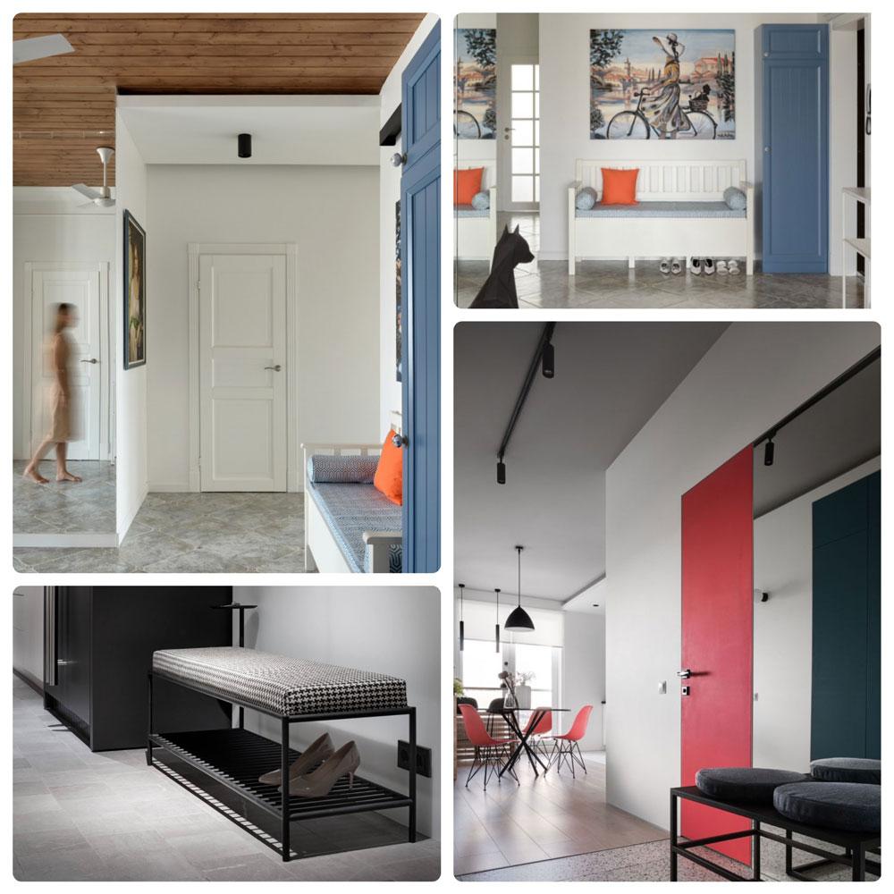 На фото прихожая и примеры коридора в светлых тонах, как отличительная черта скандинавского стиля. На белом фоне выделяется мебель и яркий декор.