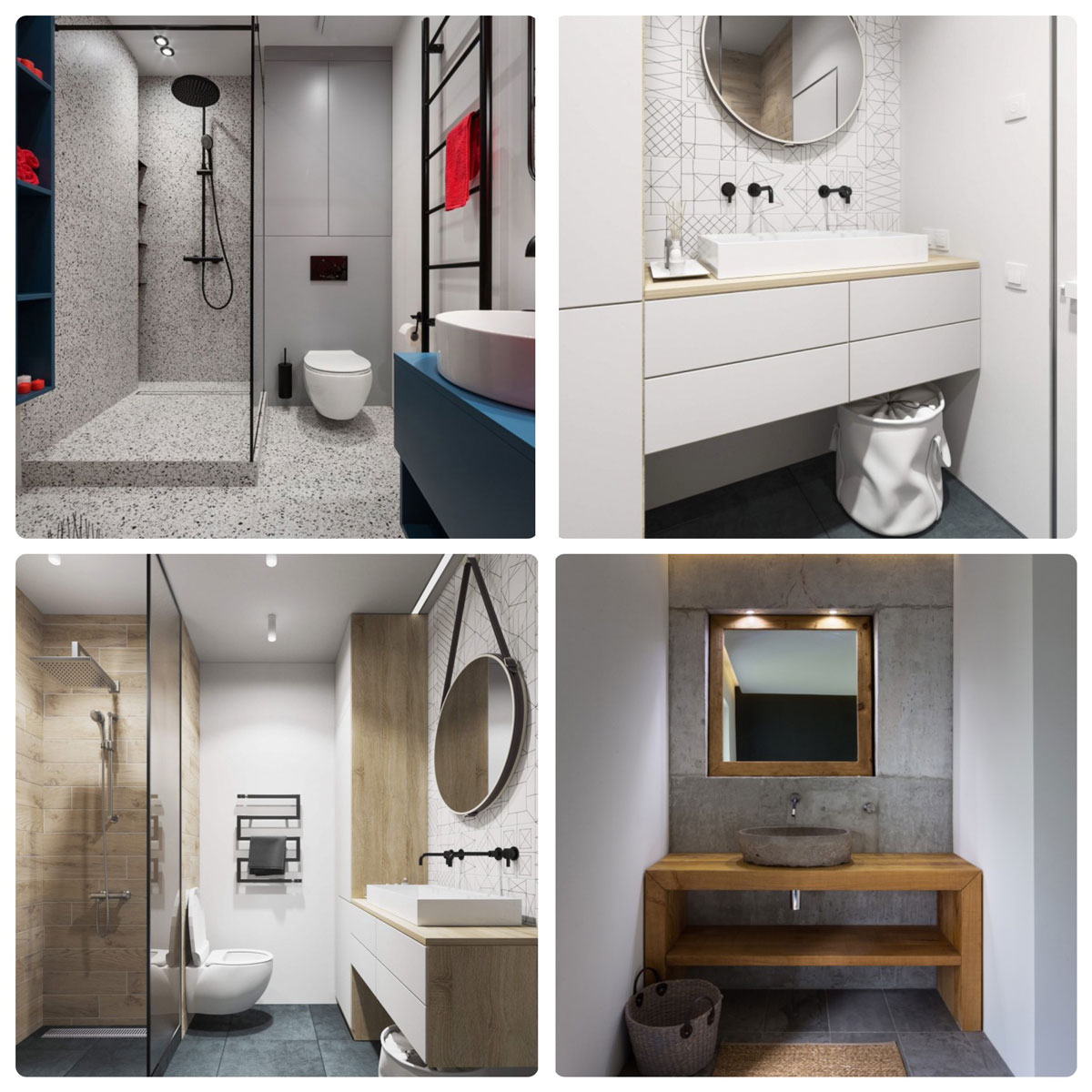 Оформления ванной комнаты: белоснежная сантехника, плитка тераццо, большие зеркала, только практичные аксессуары