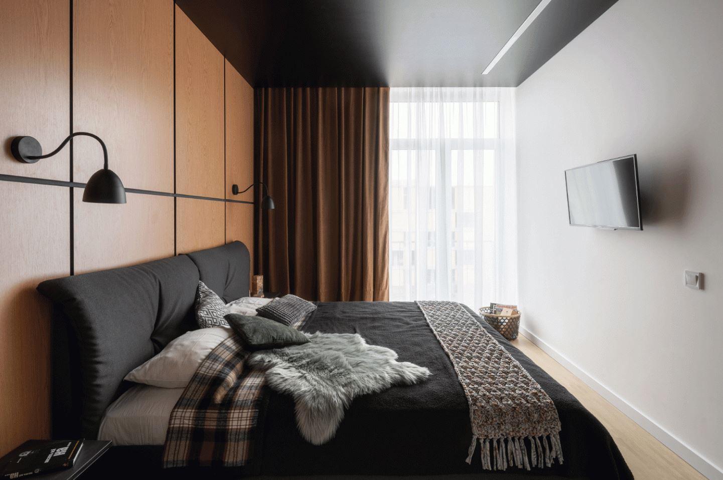 Спальня, тёмный качественный текстиль, шкура, плед, панорамные окна