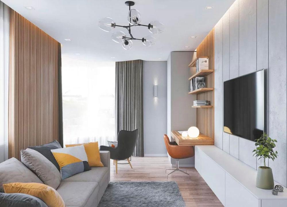 Уютная гостиная, деревянные декоративные панели, цветной текстиль, удобные кресла