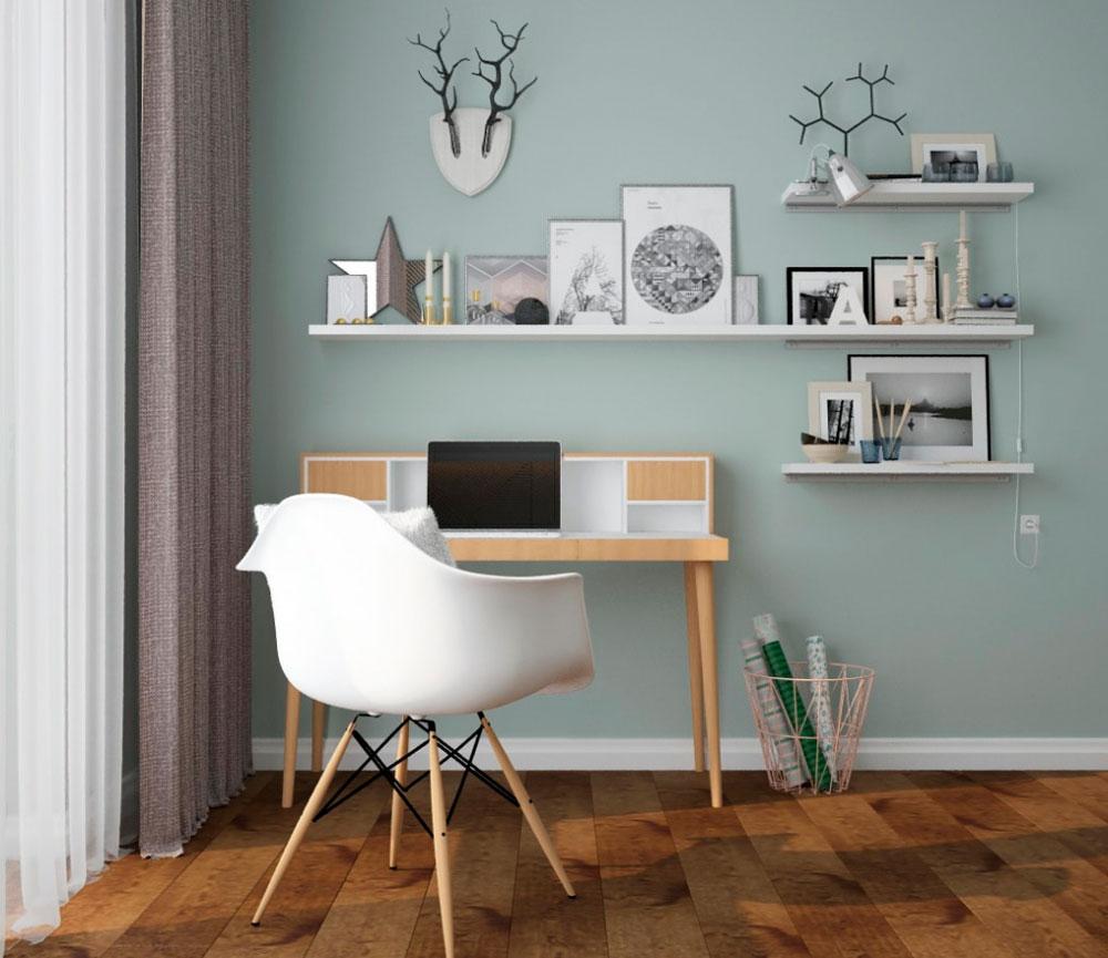 Домашний офис: практично кресло белого цвета, стена с полками и декором который формирует фон для скандинавского стиля