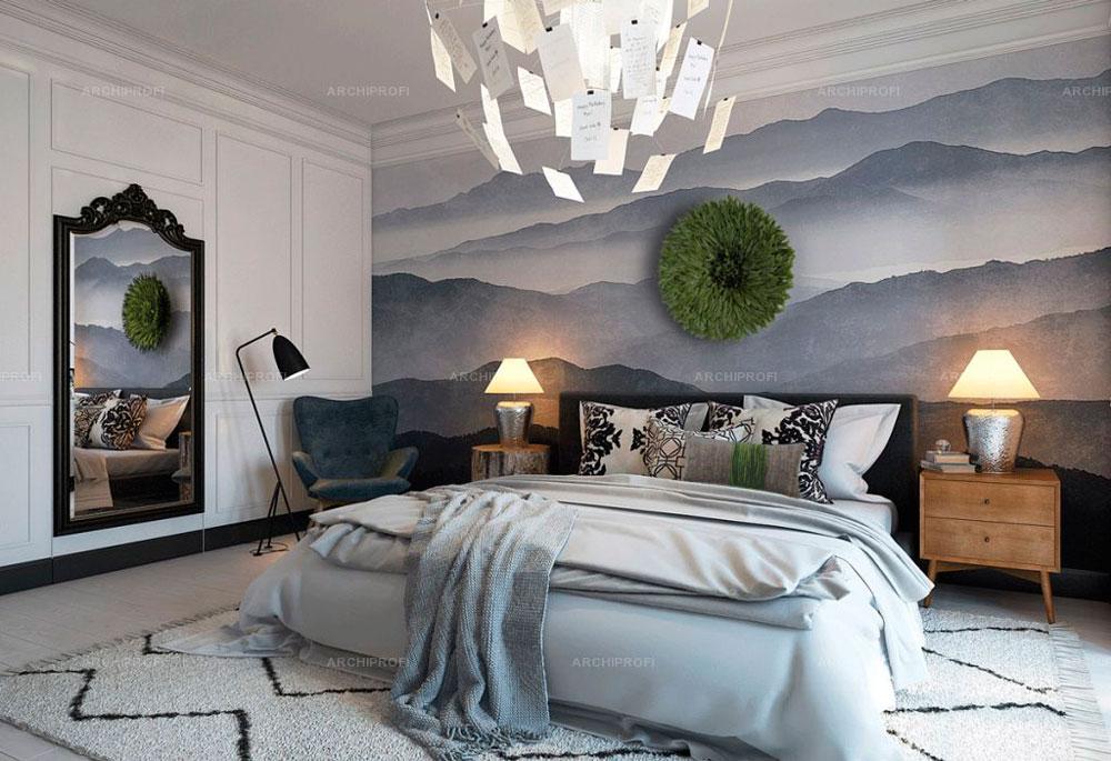 Применения обоев в сканди спальни