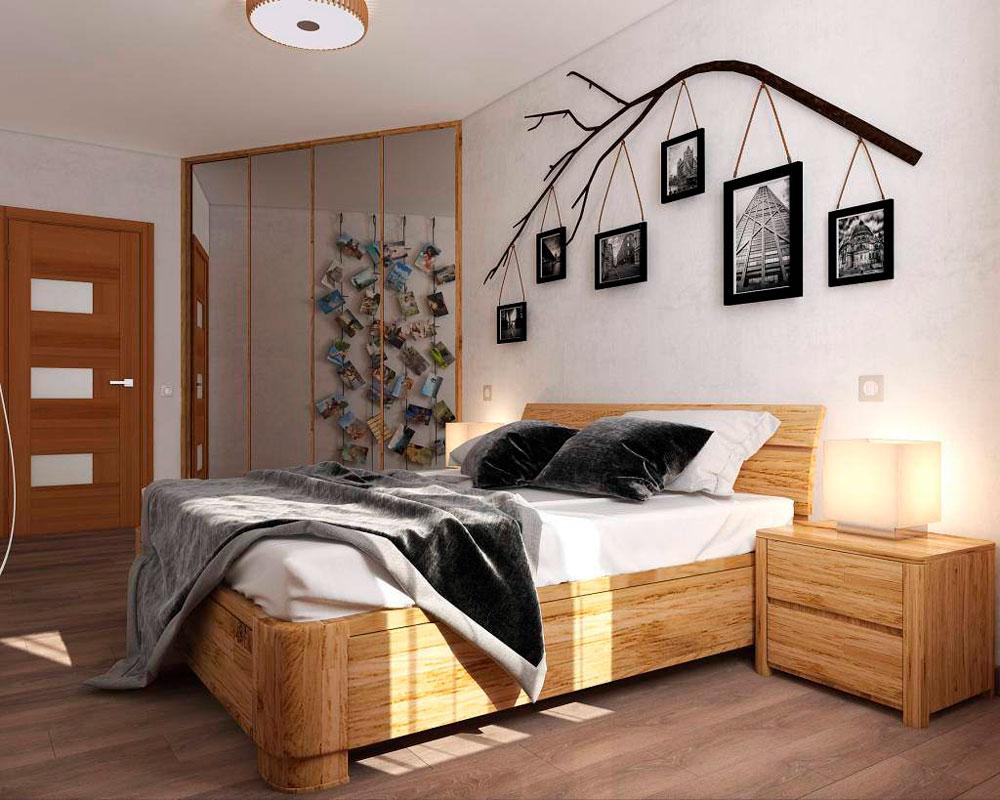 Оформления спальни: высока кровать из дерева. Скандинавский интерьер, где используется много дерева, как на полу так и на стенах