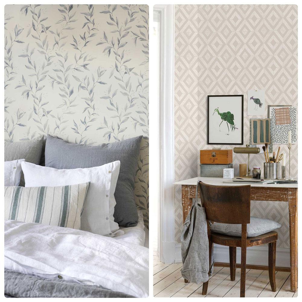 Обои в скандинавском стиле в пастельном тоне, с рисунками в виде геометрических фигур и растительности. Текстиль из натуральных материалов. Деревянная, состаренная мебель