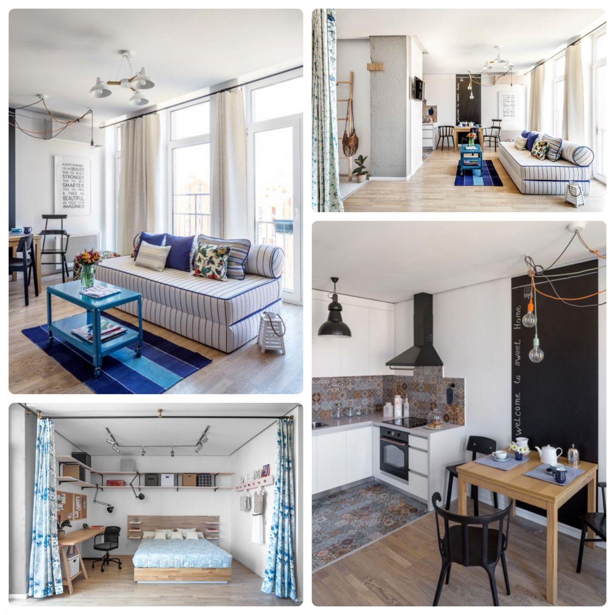 Интерьер квартиры в скандинавском стиле, практичный, но дорогой диван-матрас, светлый пол, огромные окна. Деревянная мебель и декоративные шторы закрывающие спальное место