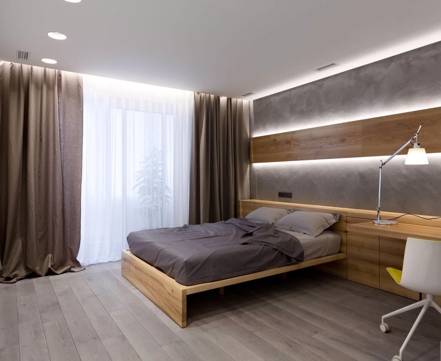 Нейтральный интерьер одной из гостевых комнат продуман таким образом, что его с легкостью можно переоборудовать под детскую