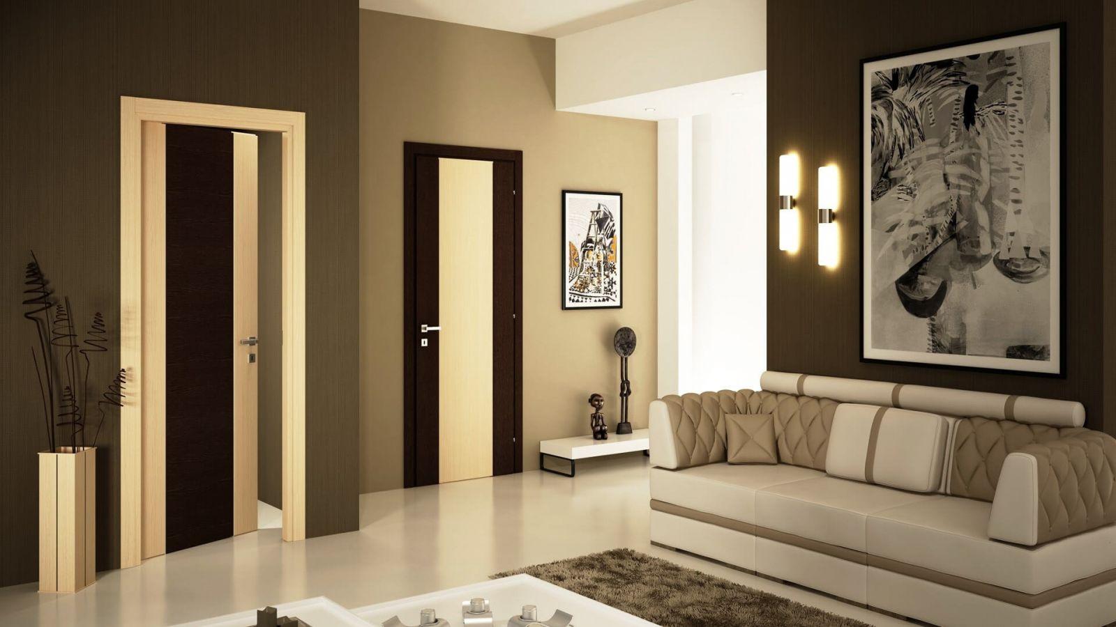 Яркий пример разумного интерьера, когда используются разного цвета стены, более того – разного цвета дверей, для зонирования помещения. Берите в  заметки