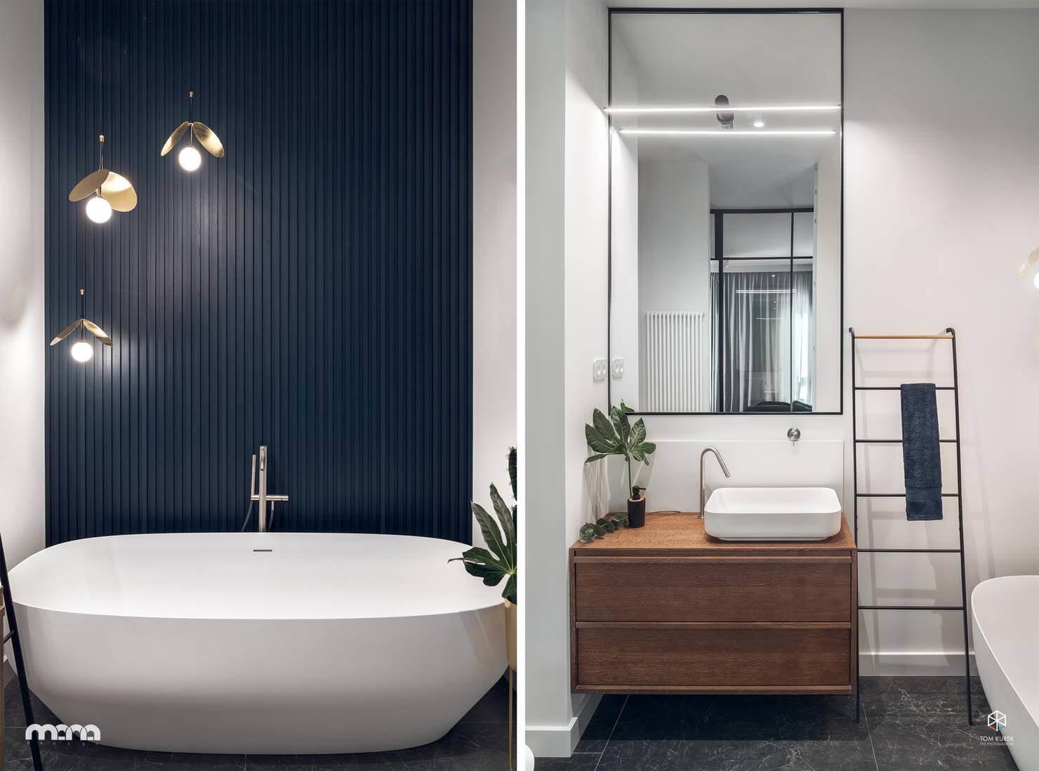 Цветовая гамма и стилистика интерьера спальни плавно «перетекает» в ванную комнату