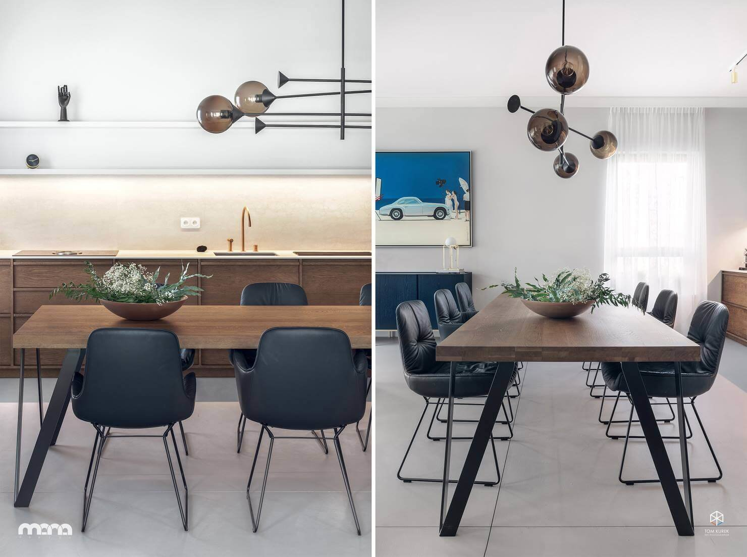 Четкая графика линий сдержанной конструкции стола эффектно контрастирует с мягкими округлыми формами люстры