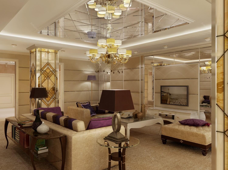 Потолок, оформленный в виде зеркальной мозаики завораживает и ослепляет своейкрасотой, он отражает в себе блики люстры и рассеивает их по всей комнате