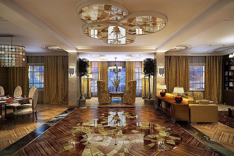 Художественный паркет в гостиной, покрытый прозрачным глянцем выглядит шикарнои изящно