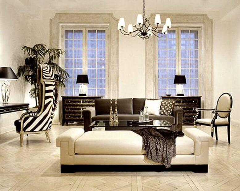 Кресло с зебровым принтом отлично дополнит интерьер гостиной в стиле ар-деко