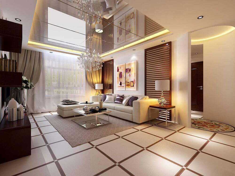 Зеркальный потолок призван расширять пространство и превращать металл и глянец вудивительную феерию блеска