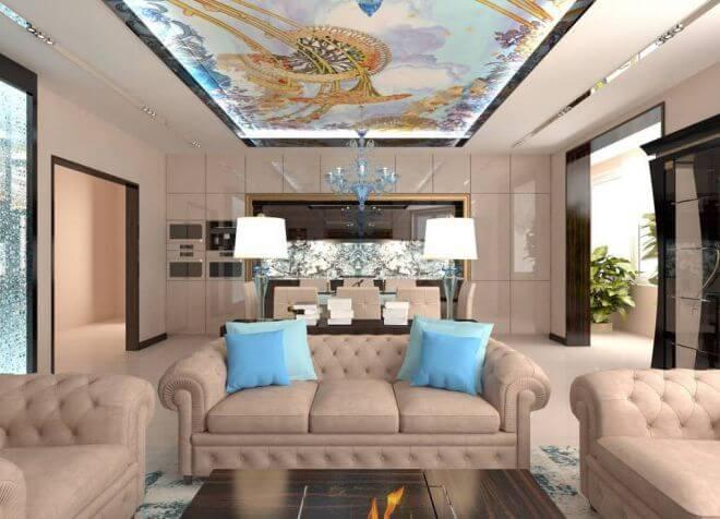 Ар-деко приемлет мебель и предметы декора только правильных форм, например,симметричная софа, квадратные подушки и овальные торшеры