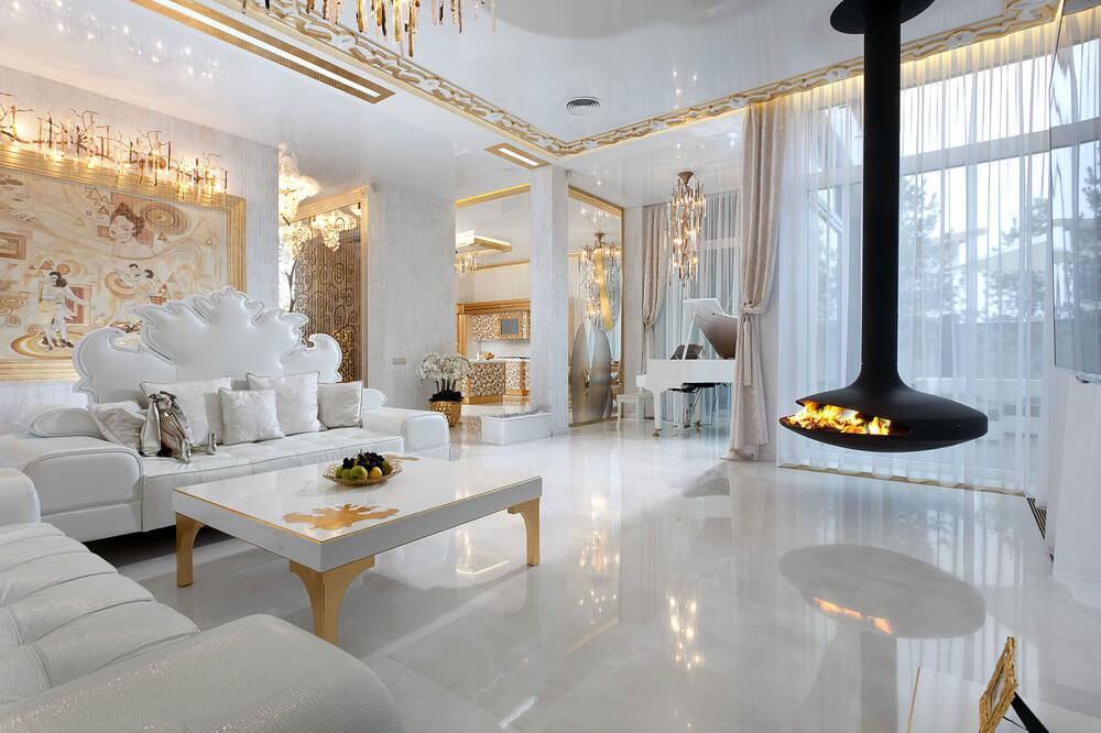 Уникальный проект интерьера в стиле ар-деко «Золото на снегу», в котором даженапольная плитка отражает в себе окружающую хрустальную обстановку
