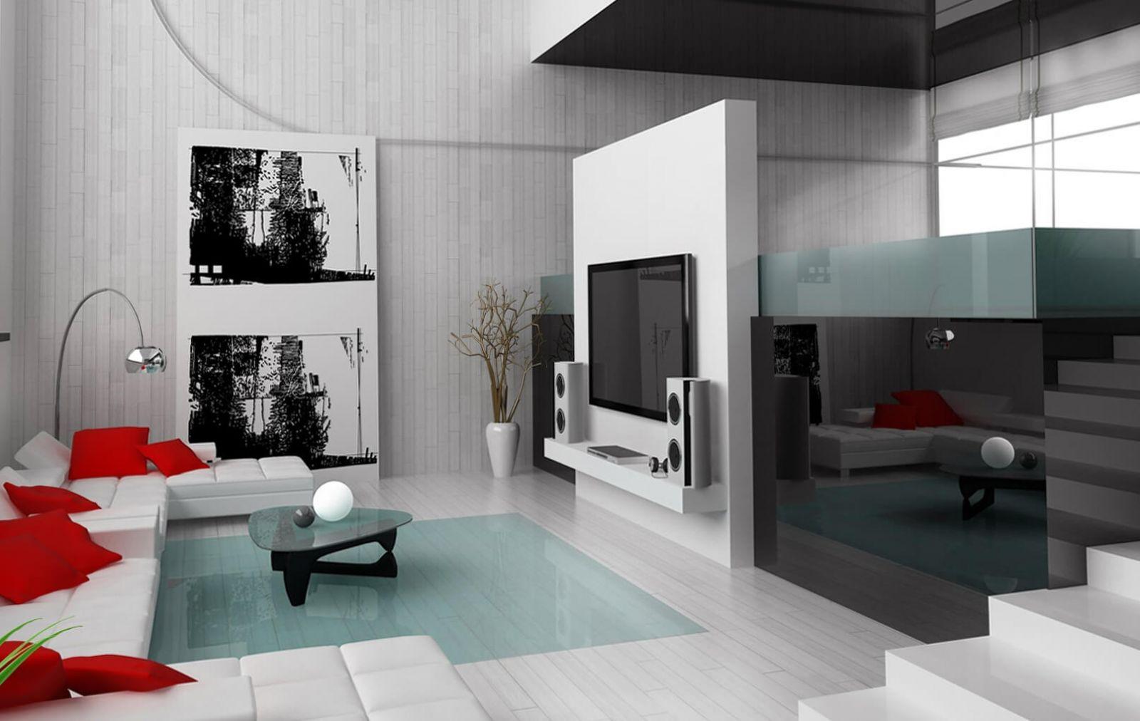 Алые акцентные подушки на фоне прозрачной голубизны стекла смотрятся завораживающе-стильно