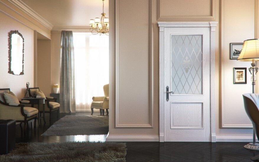 Фото белых дверей в классическом стиле с темным полом