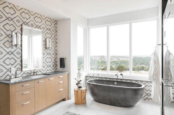 Бетонная ванна - это вечная классика минималистичного дизайна.