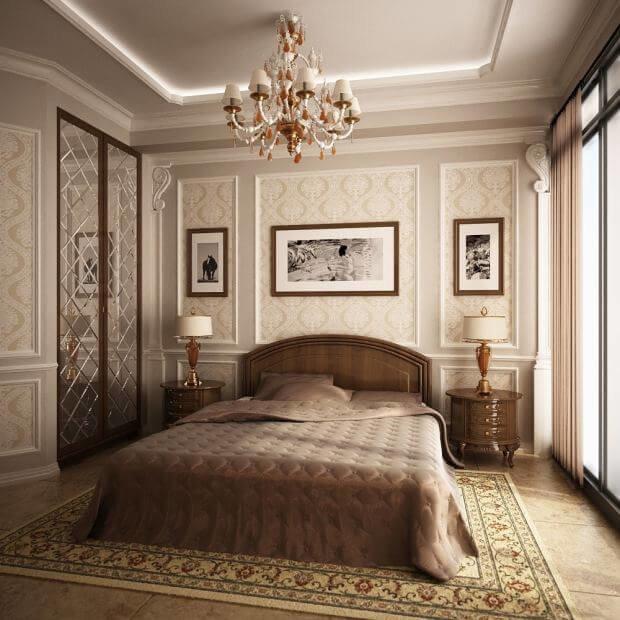 Акцентные элементы в бежевой спальне выражаются в виде мягких коричневых и светло-белых оттенках