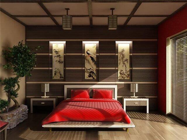 Красный цвет в японском интерьере выглядит мягким за счет добавления бежевых оттенков в отделке стен, потолка и пола