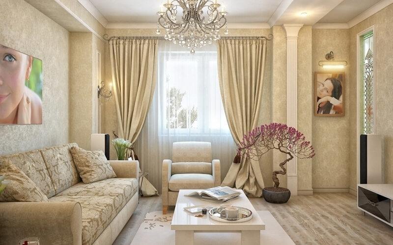 Для бежевой гостиной необходимо наличие большого количества света, поэтому в интерьере лучше всего применять объемные люстры в сочетании с небольшими точечными светильниками