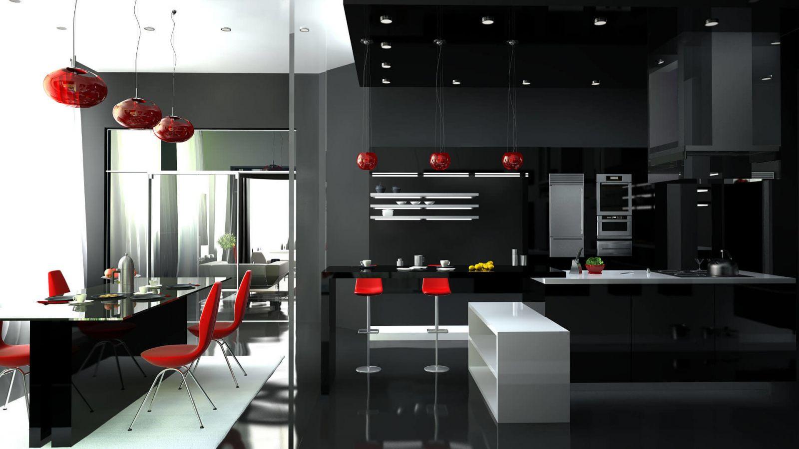 Хай-тек не любит разнообразия цветовой палитры, поэтому использование самобытного и наполненного черного цвета не требует дополнительных ведущих цветов.