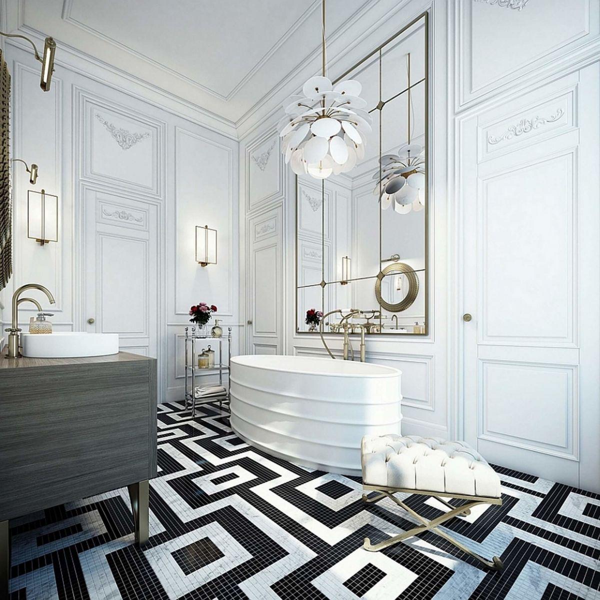 Арт-деко прекрасно отражает эстетику черно-белой гаммы, дополняя её элегантной роскошью.
