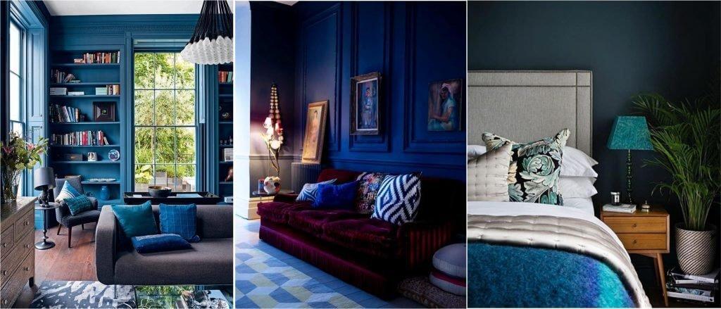 Палитра синих оттенков эффектно смотрится в классических и современных интерьерах.