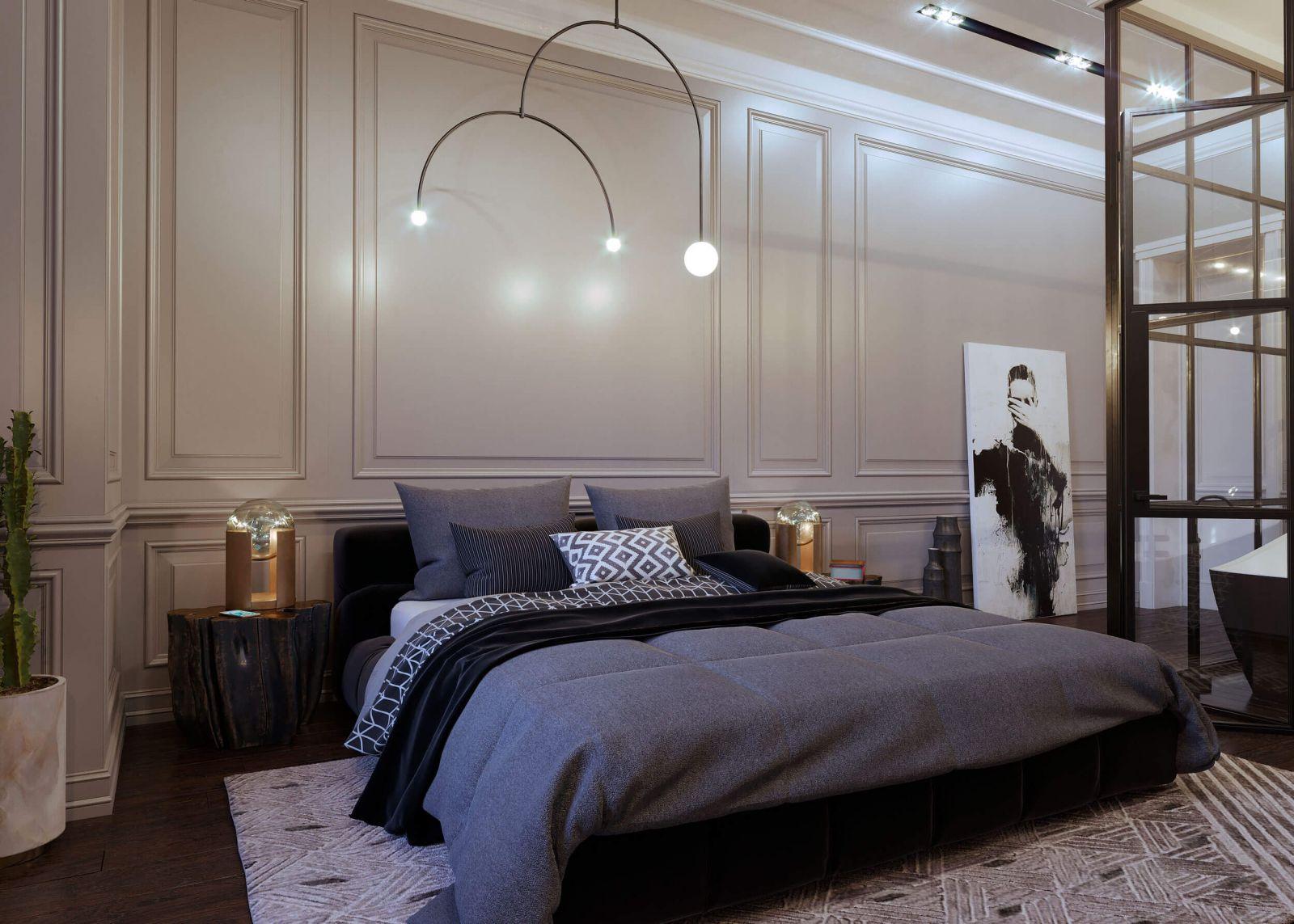 Интегрированная в интерьер спальни ванная комната ограждена стеклянными перегородками, что добавляет помещению ощущение легкости