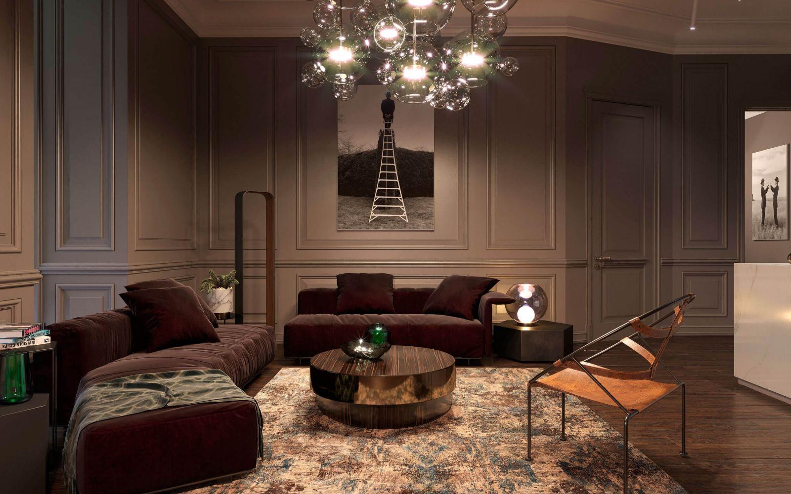 Монохромная цветовая гамма гостиной создает атмосферу камерности, которая разбавлена ярким светом льющемся сквозь высокие окна эркера