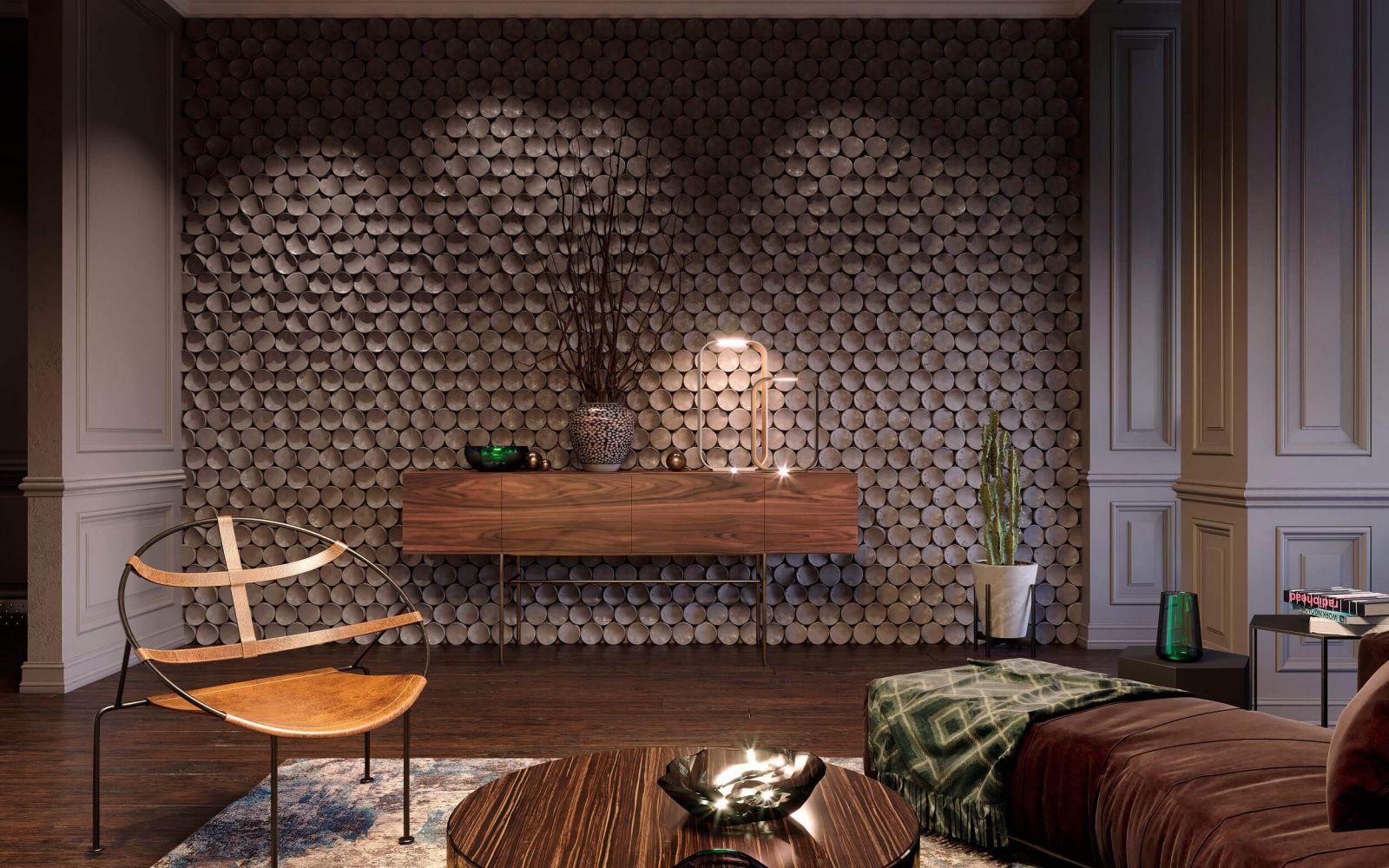 Акцент в интерьере гостиной сделан на оригинальную стену украшенную декоративным панно из 3D-панелей
