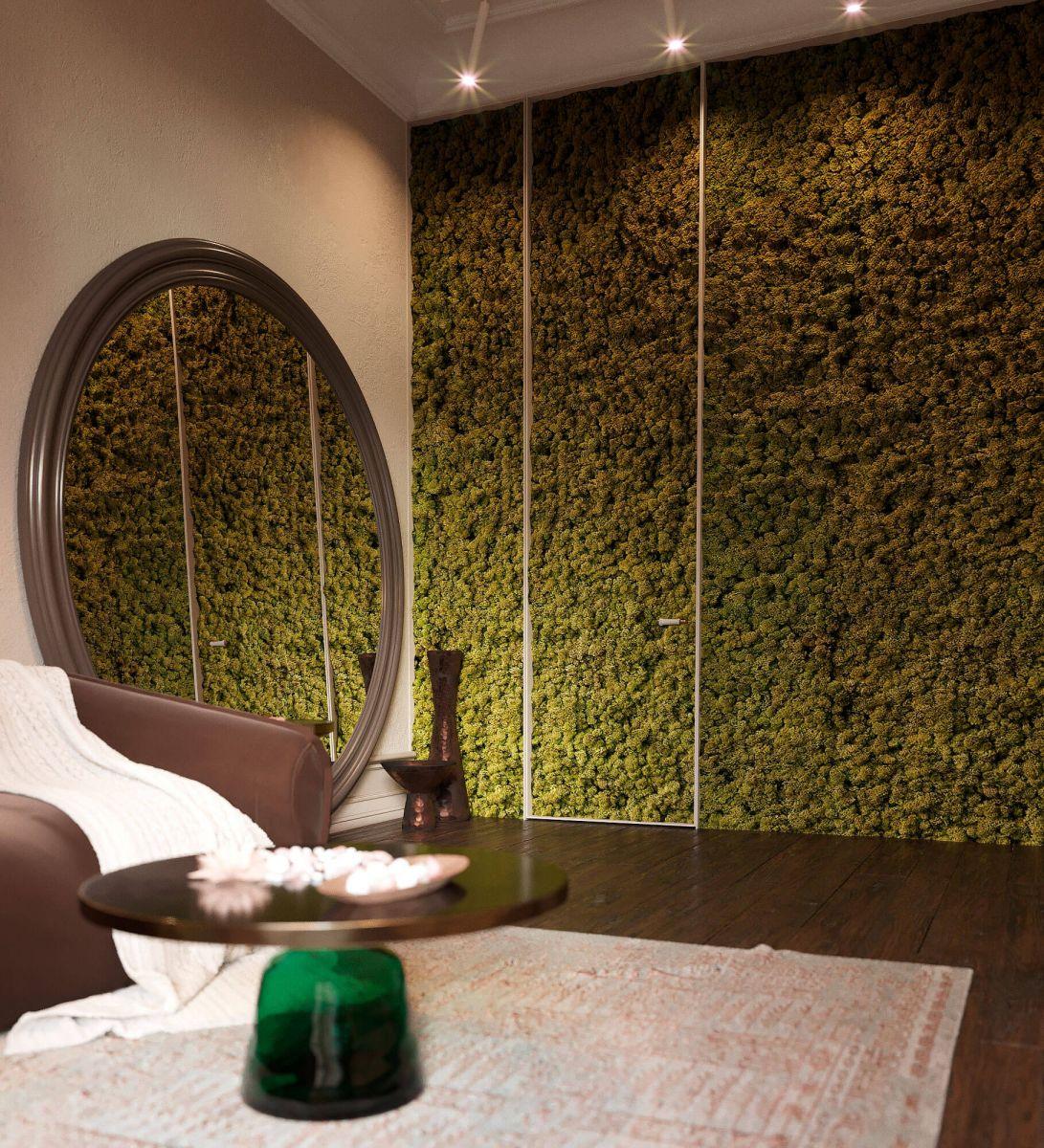 Стена комнаты покрыта натуральным мхом приятного зеленого цвета, дающего ощущение единения с природой.