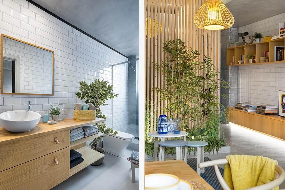 Дополнительные ниши для хранения в гостиной выполнены из натурального дуба